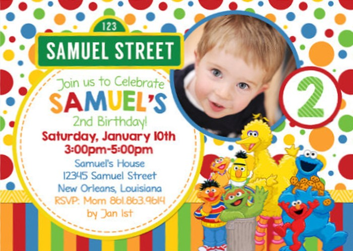 Personalized Sesame Street Birthday Invitation Sample Invitations