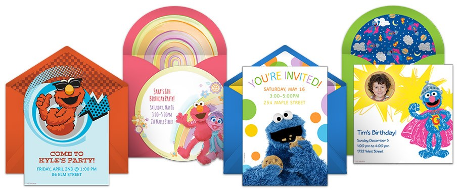 Sesame street invitation samples