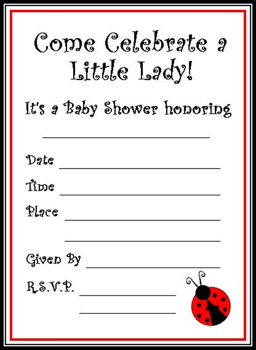 free ladybug baby shower invitations template