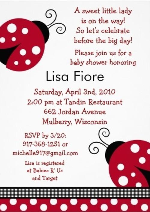 ladybug baby shower invitation sample