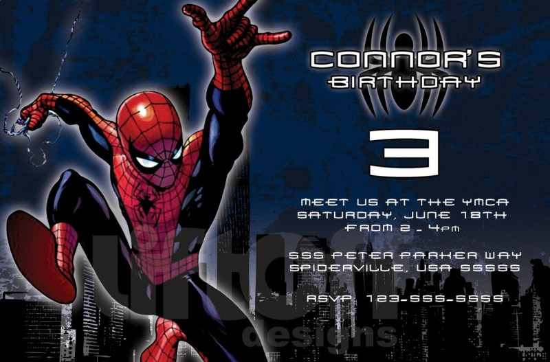 Cool Spiderman Birthday Invitation sample Invitations Online