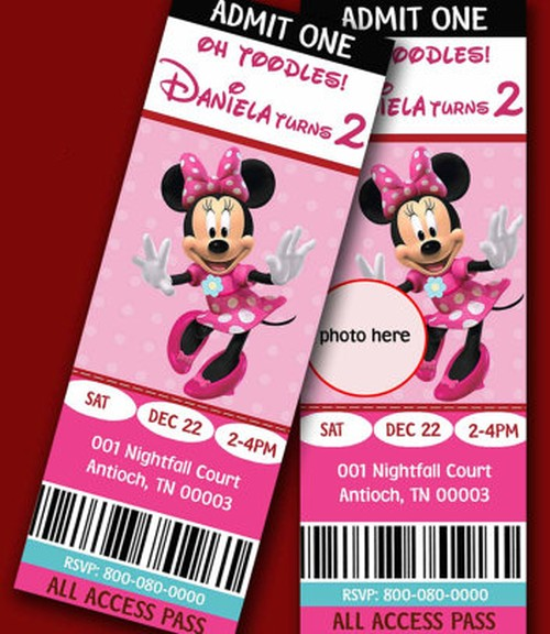Etsy Minnie Mouse Birthday Invitations sample Invitations Online