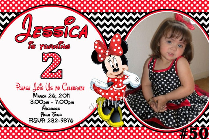 Etsy Personalized Minnie Mouse Birthday Invitations