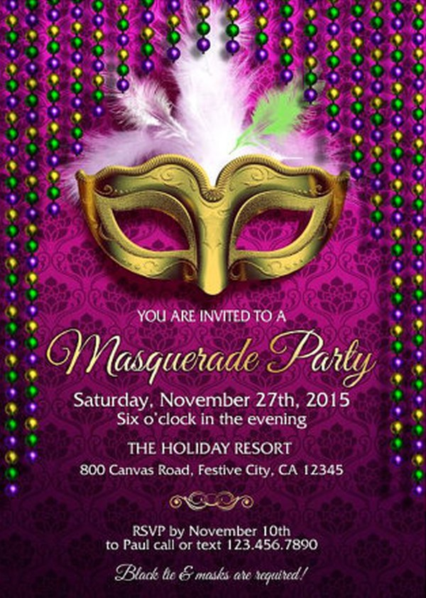 masquerade party invitation example