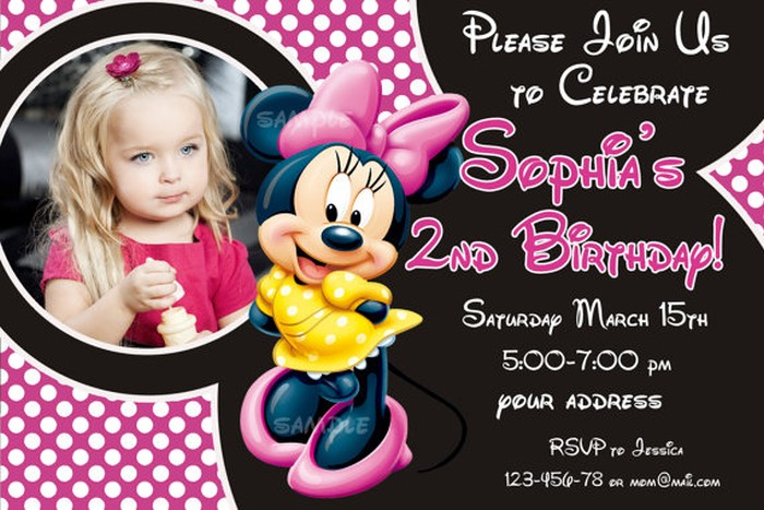 Personalized Minnie Mouse Birthday Invitation Sample Invitations - Minnie mouse birthday invitation images