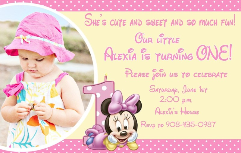 Personalized Minnie Mouse Invitation Sample