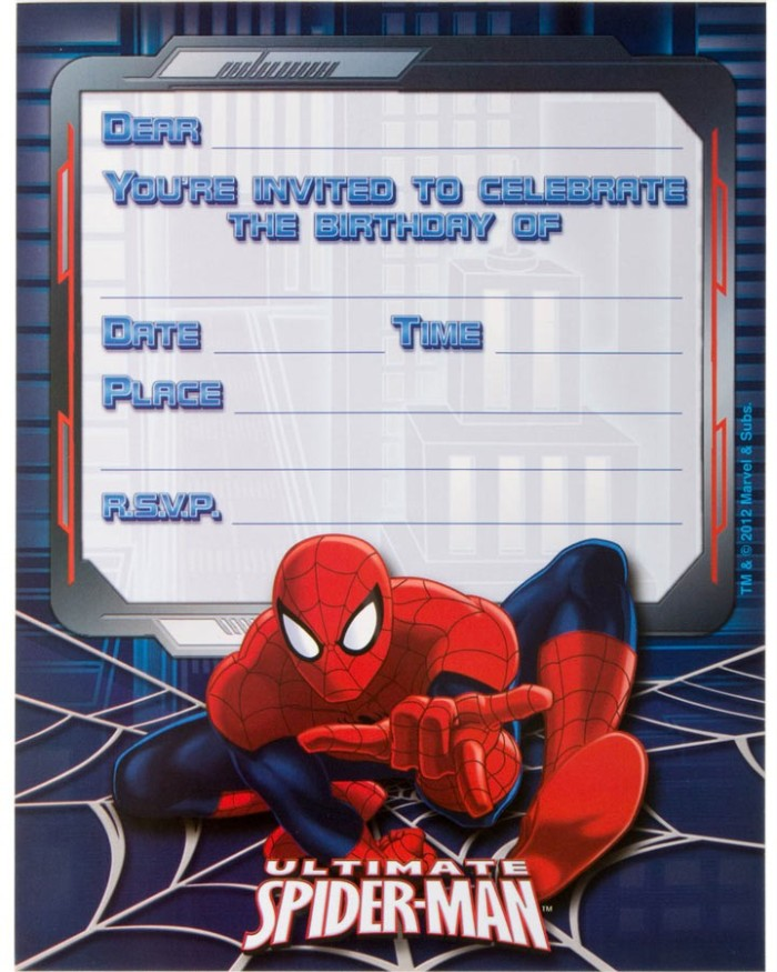 Ultimate Spiderman Birthday Invitations empty template ...