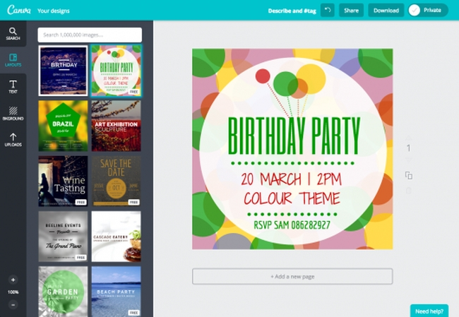 Canva invitation maker sample