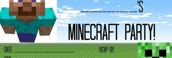 Free Minecraft party invitation template 590x200