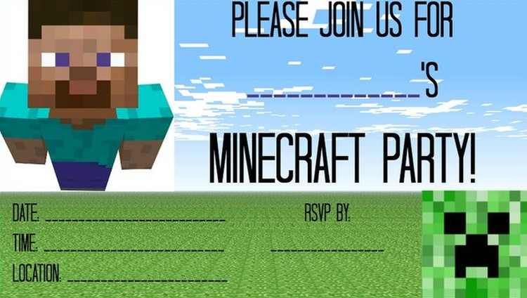 Free Minecraft Party Invitation Template | Invitations Online