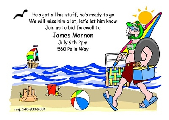 Funny going away invitation sample