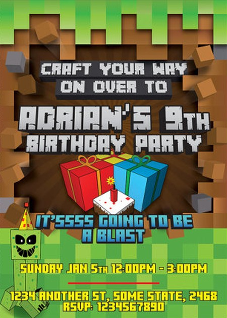 Templates For Minecraft Party Invitations
