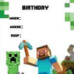 Minecraft birthday invitation template 150x150