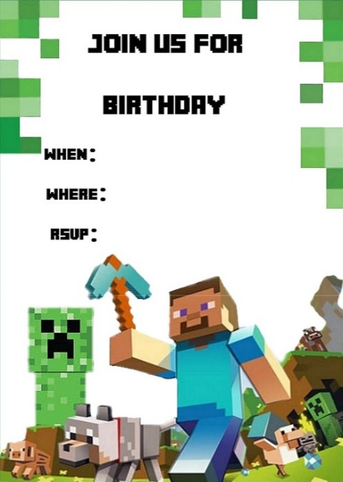 Templates For Minecraft Party Invitations Invitations Online