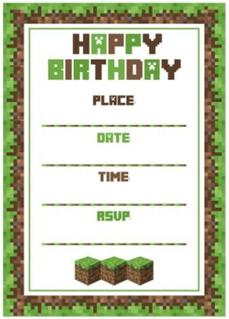 Minecraft birthday party invitation template – Mine Craft Invitation Template