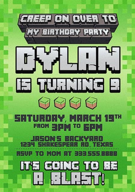 Minecraft birthday party invitations Invitations Online