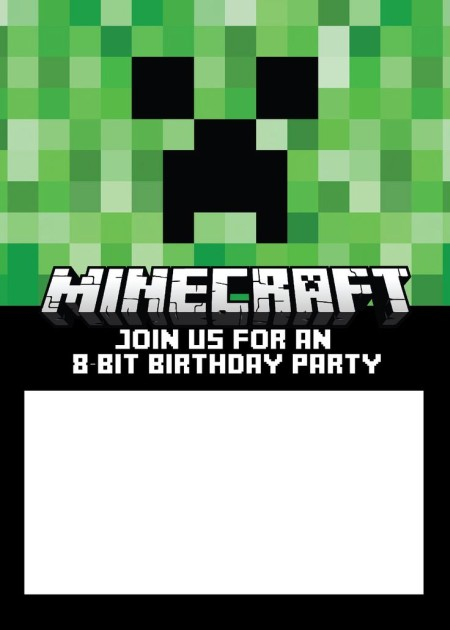 Minecraft party invitation template