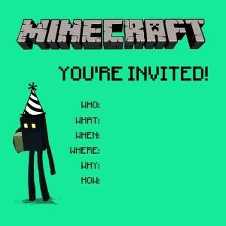 Minecraft party invitations