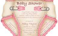 Cute pink diaper baby shower invitation sample 191x120