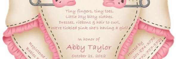 Cute pink diaper baby shower invitation sample 590x200