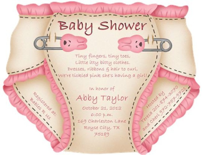 Cute pink diaper baby shower invitation sample