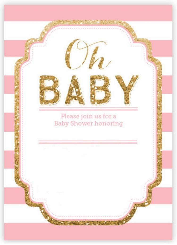 Pink And Gold Glitter Baby Shower Invitation Invitations Online - Pink baby shower invitation templates
