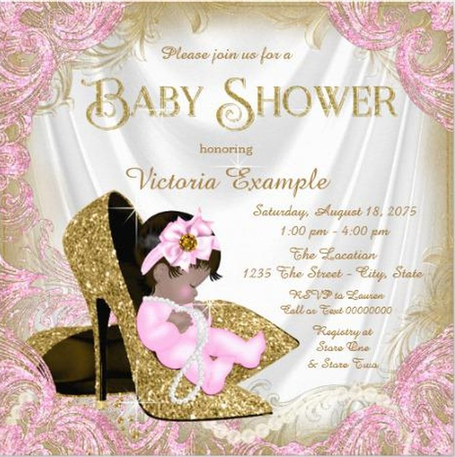 glitter baby girl shower invitation sample invitations online