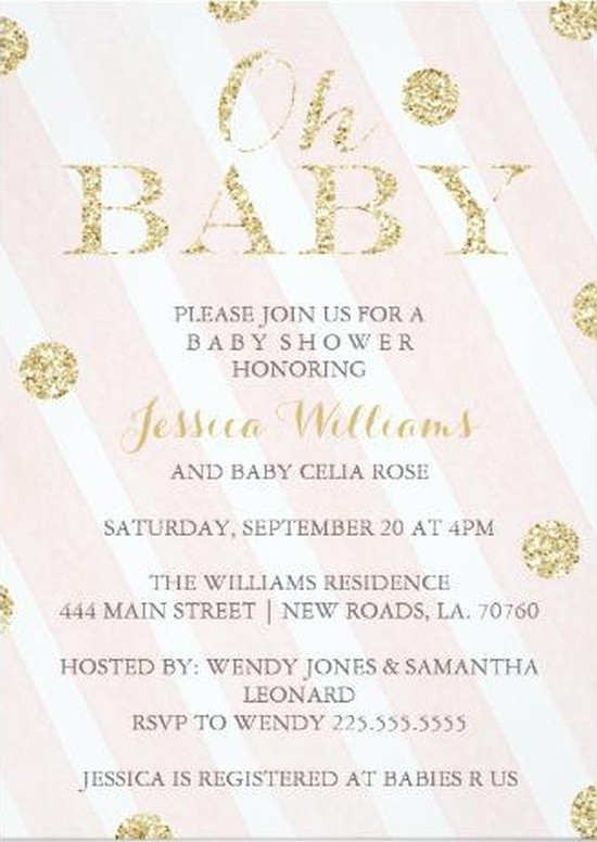 Preferred pink and gold baby girl shower invitation | Invitations Online VK51