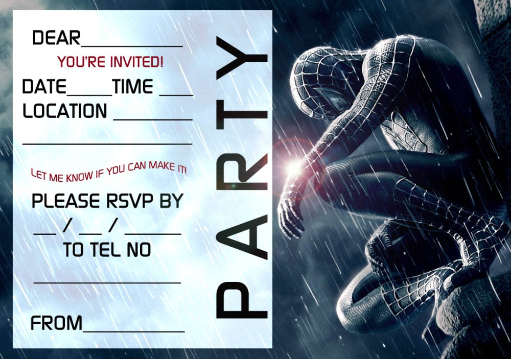 Free Spiderman Party Invitation template | Invitations Online