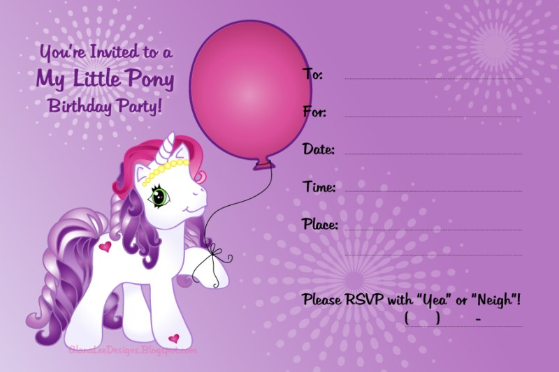 My Little Pony Invitation sample