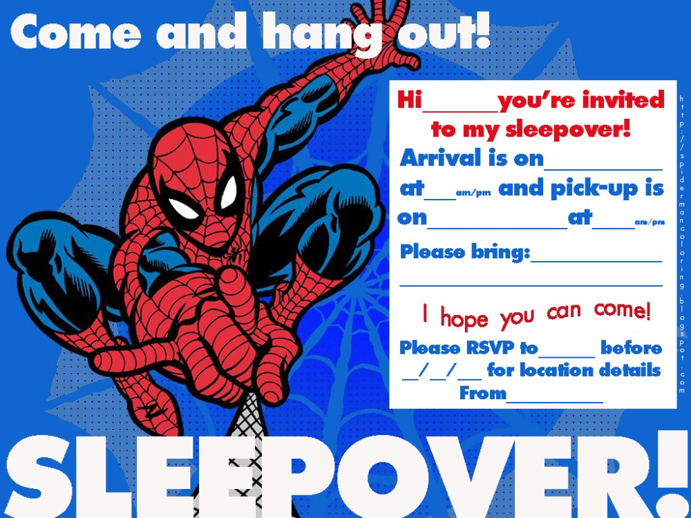 Spiderman free printable invitation templates invitations online spiderman sleepover party invitation template stopboris