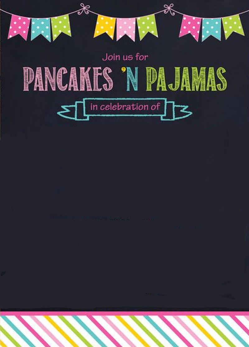 pancaces 'n pajama party invitation template | Invitations ...