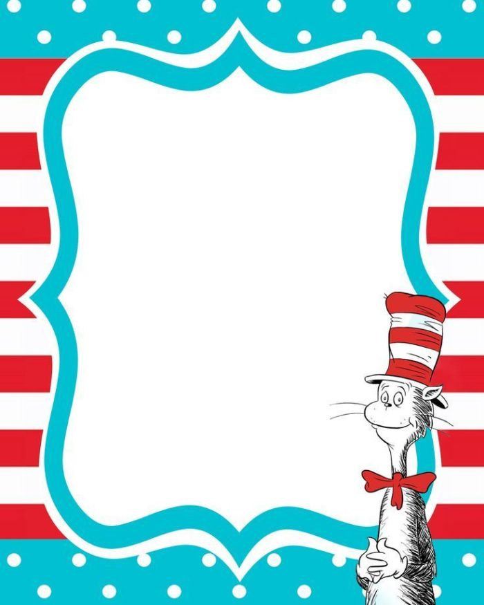 Dr seuss free printable invitation templates for Dr seuss birthday card template
