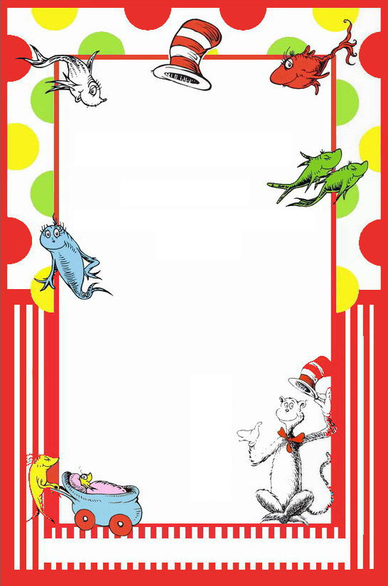 Dr seuss free printable invitation templates invitations for Dr seuss birthday card template