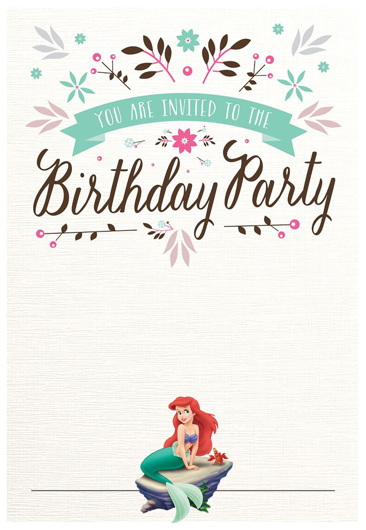 Little Mermaid Free Printable Invitation Templates - Little mermaid birthday invitation template