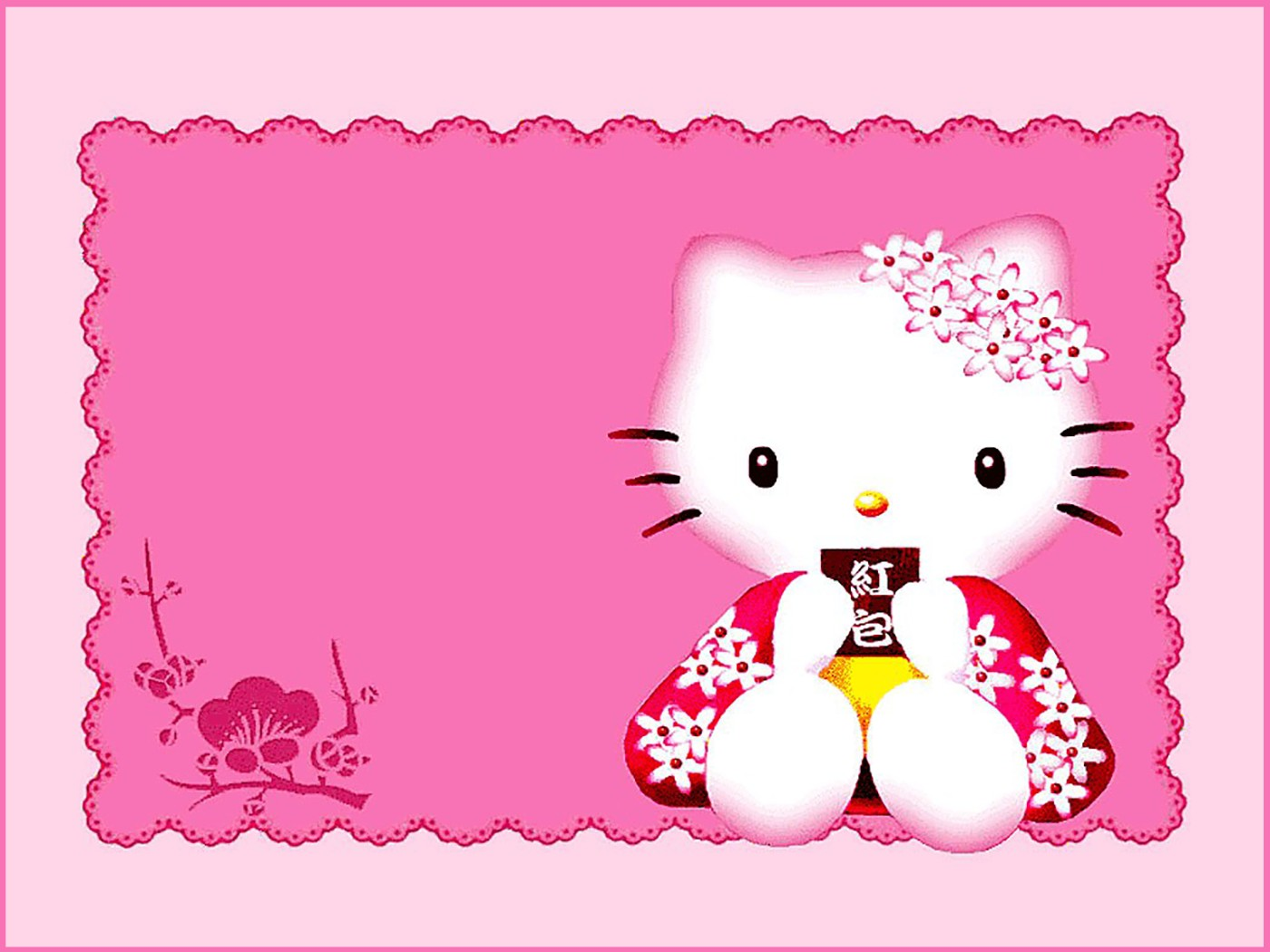 Cute Pink Hello Kitty Invitation Template