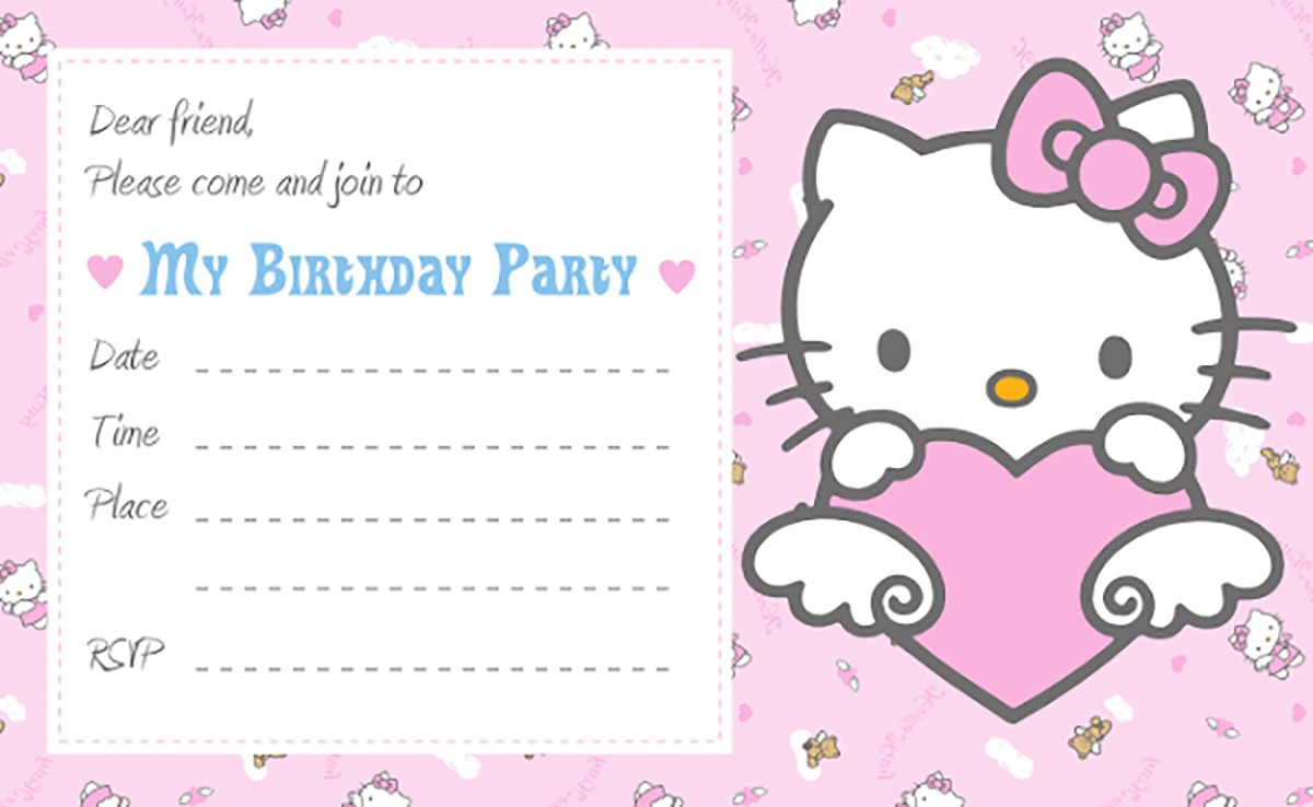 Printable Hello Kitty Birthday Party Invitation Card