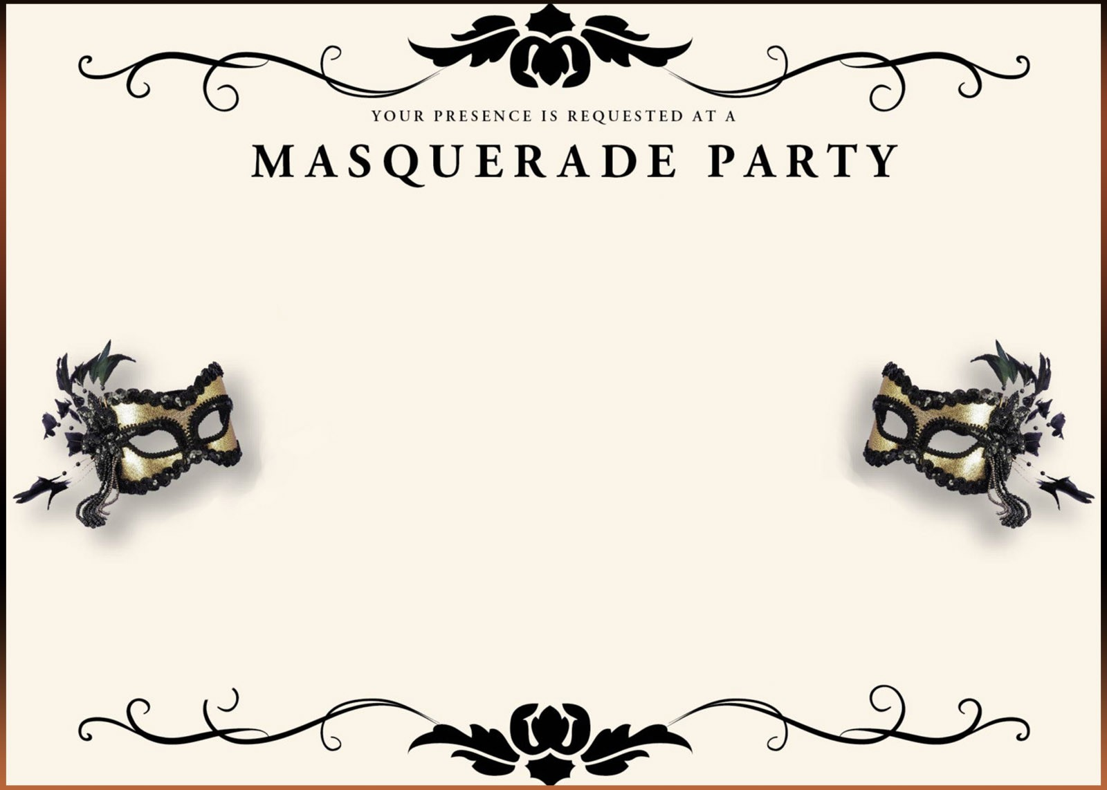 Free printable masquerade invitation templates for Masquerade ball masks templates