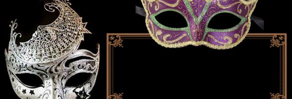 Printable Masquerade Party Invitation Card 590x200