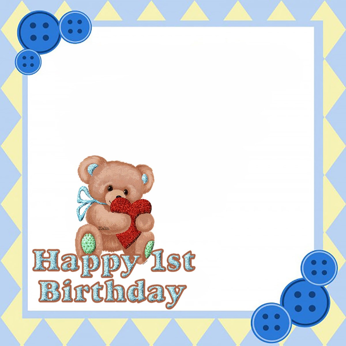 Printable Teddy Bear First Birthday Invitation Card | Invitations Online
