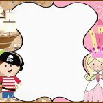 Pirate and Princess Birthday Party Invitation Card 150x150