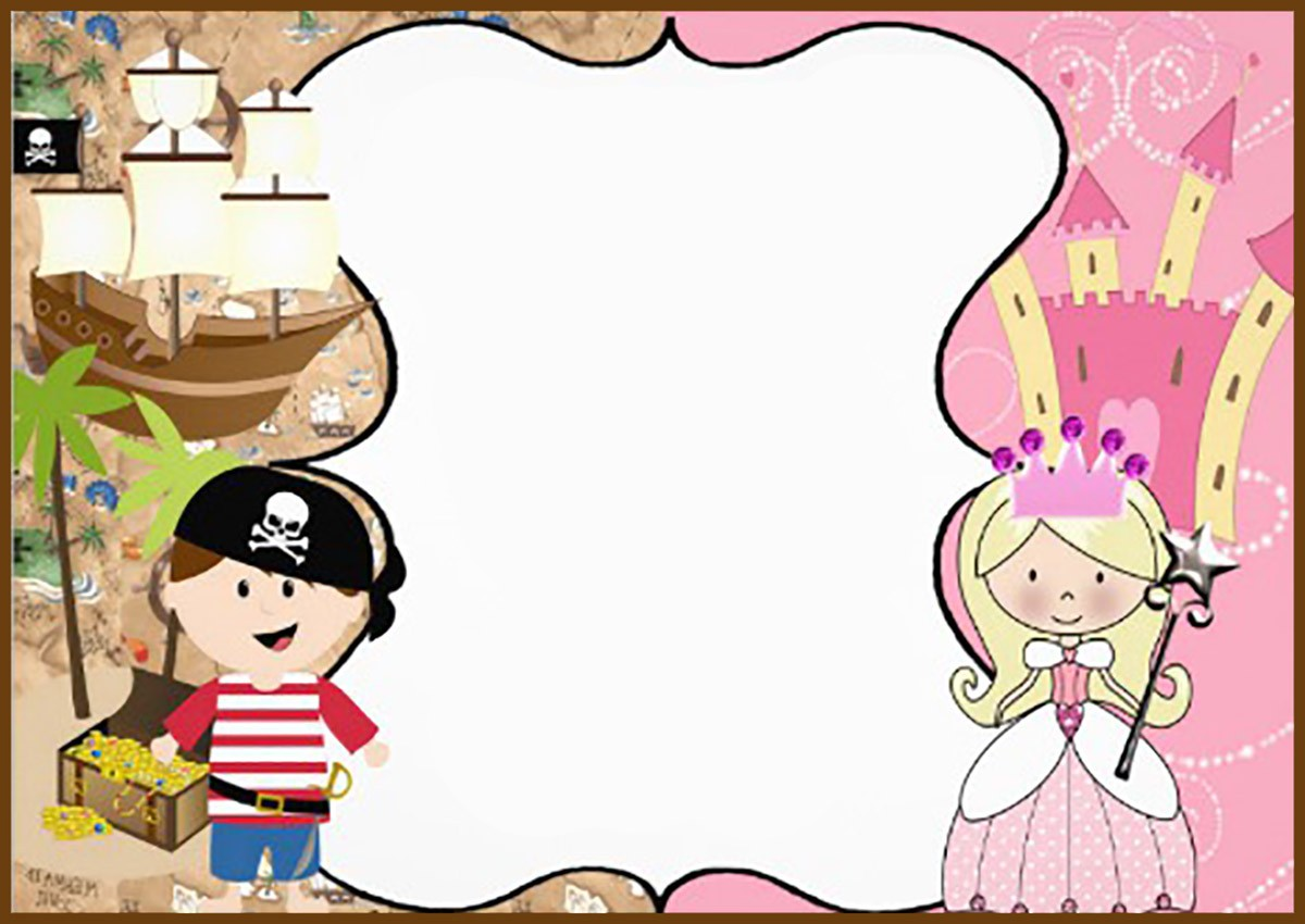Pirate and Princess Birthday Party Invitation Card | Invitations Online