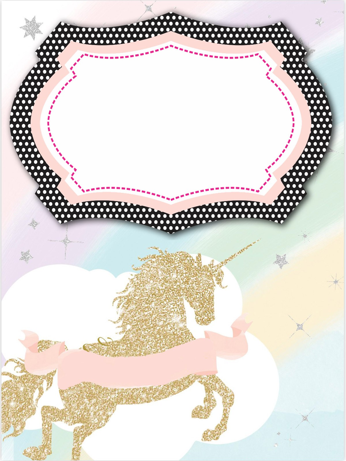 graphic regarding Free Printable Unicorn Template identify Unicorn Invitation Templates - Crafted toward satisfy the