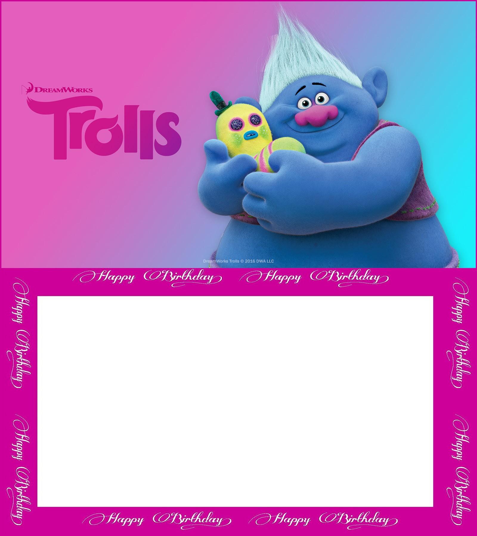 Editable Trolls Birthday Invitation