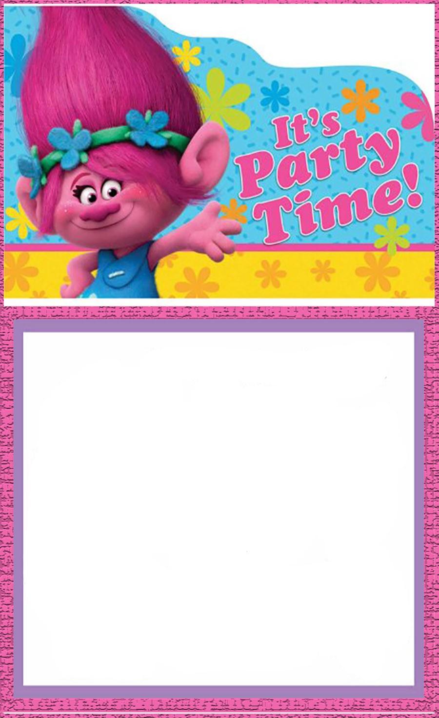 free printable trolls invitation templates