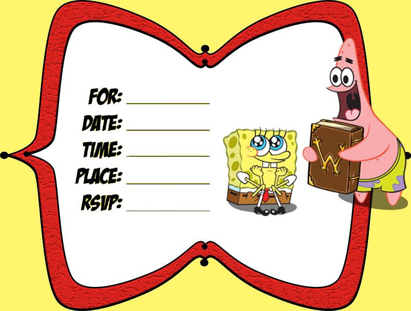 SpongeBob And Patrick Birthday Invitation Template